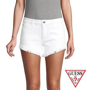 NWOT Guess Riley Frayed White Jean Shorts